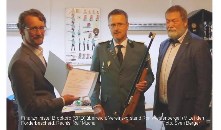 Schützengesellschaft Concordia erhielt Förderbescheid vom Finanzminister