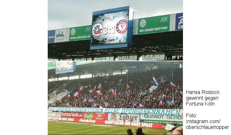 Hansa gewinnt 3:1 gegen Fortuna Köln