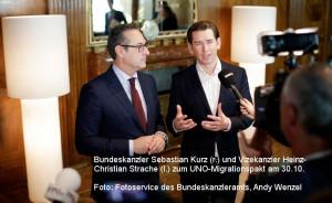 Kanzler Kurz und Vize Kanzler Strache zum Migationspakt_301018