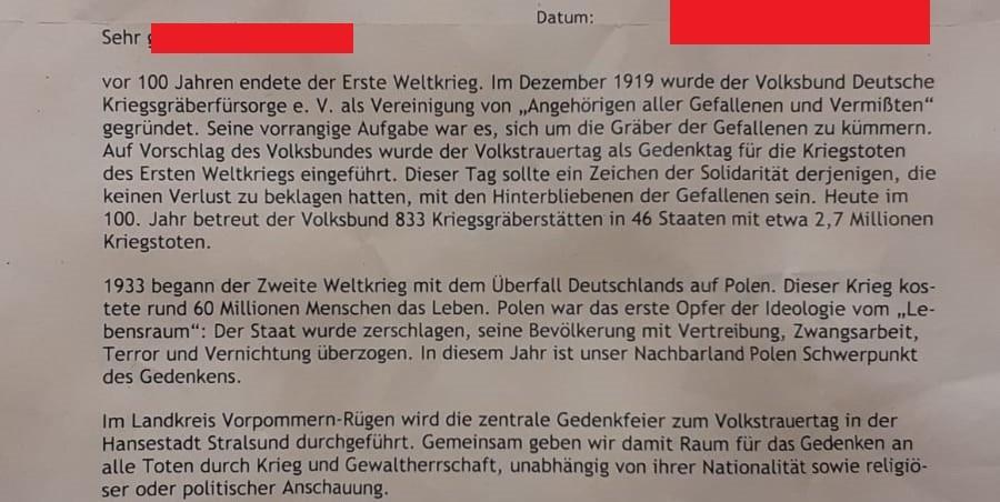 Einladung zum Volkstrauertag: SPD-Landrat blamiert sich