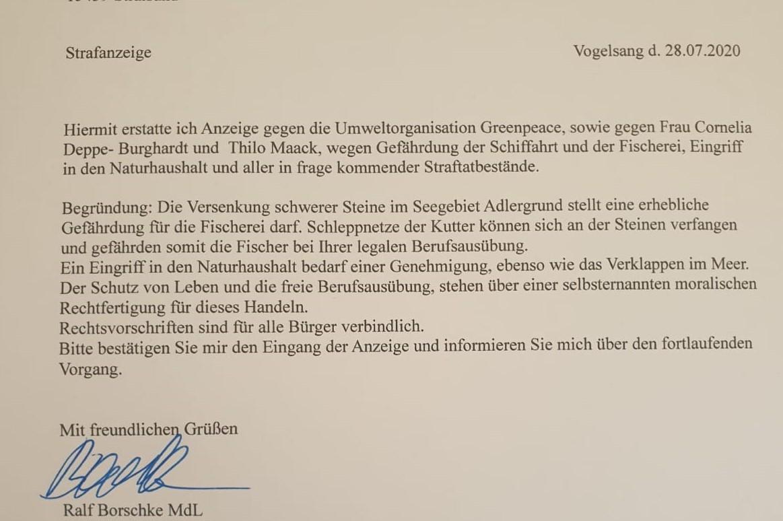 Anzeige ist raus: AfD-Mann verklagt Greenpeace