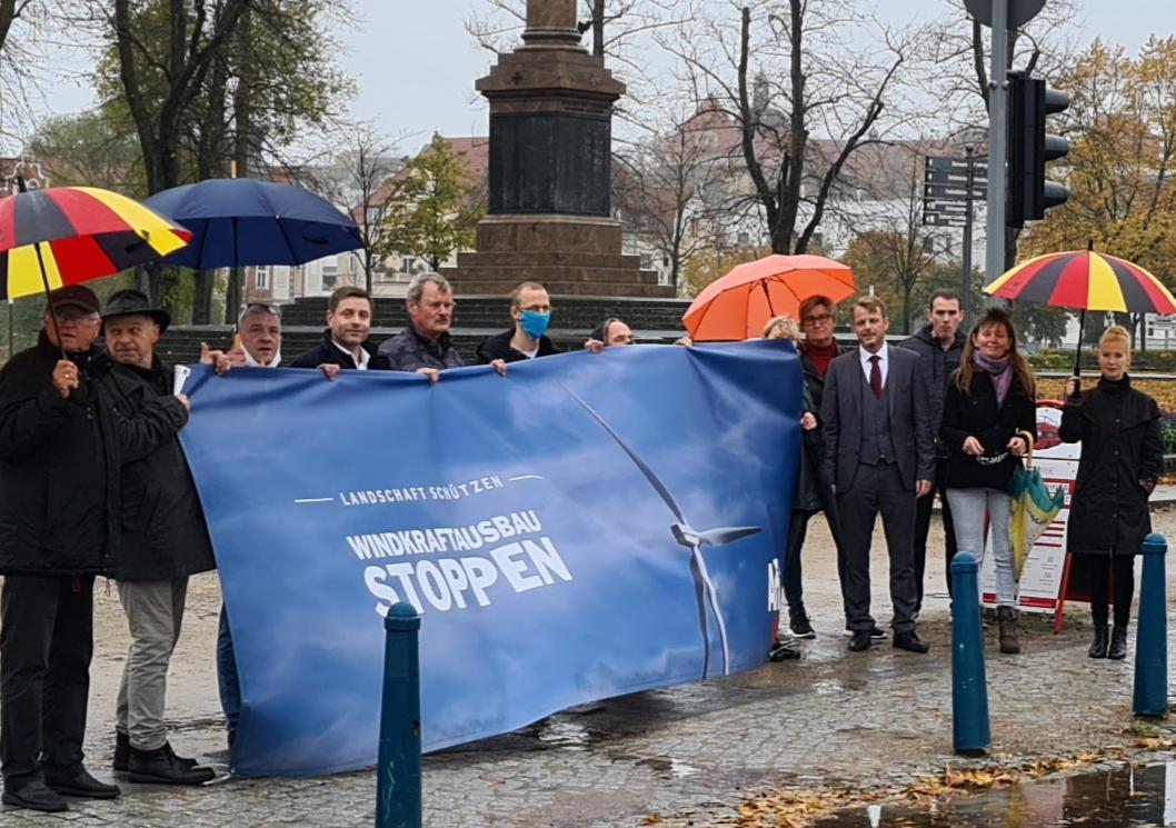 Schwerin: AfD-Protest gegen Windenergie